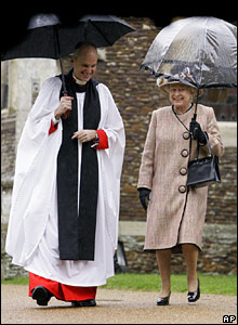 Queen and Reverend Jonathan Riviere, Christmas Day 2007