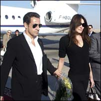 French President Nicolas Sarkozy arrives in Luxor with new girlfriend Carla Bruni on Tuesday, in an official photograph released by the Luxor Information Office