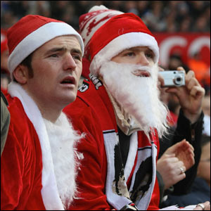 Fans watch Man Utd v Everton just before Christmas