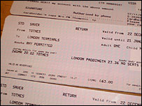 Return tickets for the 2002 GMT Totnes to London Paddington train service