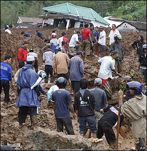 The search for people buried by landslides in central Java