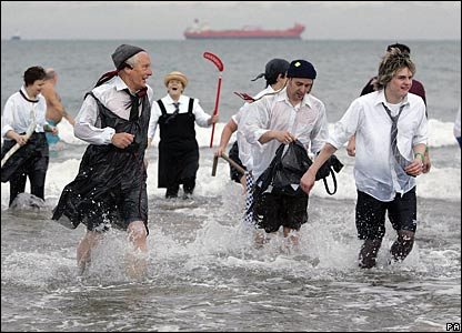 It was jolly hockey sticks all round for these hardy souls as they frolicked in the North Sea.