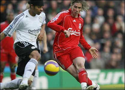 Fernando Torres beats Dean Leacock on his way to giving Liverpool the lead