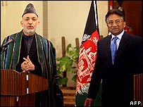 Hamid Karzai and Pervez Musharraf