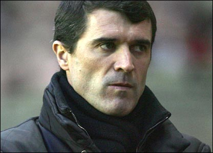 Roy Keane looks disgusted after Sunderland's defeat to Manchester United