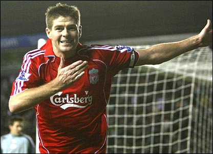 Steven Gerrard scores Liverpool's winner at Pride Park