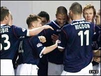 Falkirk celebrate Gerard Aafjes' winning goal