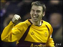Paul Quinn is all smiles as he equalises for Motherwell