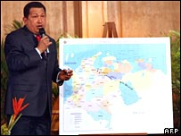 Hugo Chavez talks to the media in the presidential palace at Caracas on 26 December 2007
