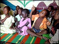 Children originally set to be taken by Zoe's Ark at a school in Chad