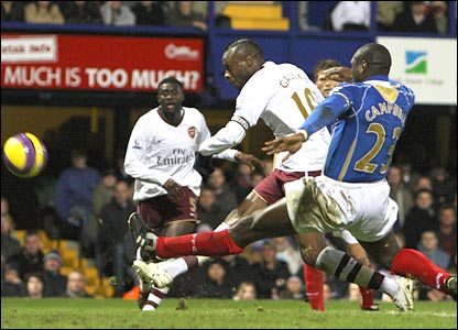 William Gallas blazes over in the last five minutes at Fratton Park