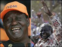 Raila Odinga (l) and President Mwai Kibaki (r)