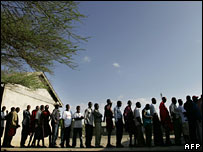 Queue of people waiting to vote