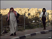 Palestinians with Har Homa settlement on the horizon