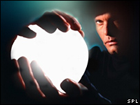 Man gazing into crystal ball