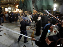 Fight at Church of Nativity in Bethlehem