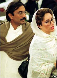 Benazir Bhutto with husband Asif Zardari in Islamabad in undated photograph