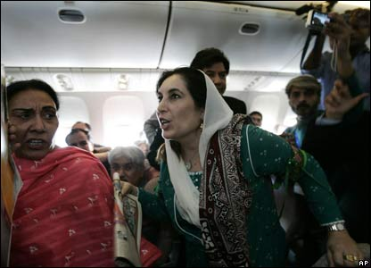 Benazir Bhutto returns to Pakistan in October 2007
