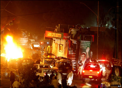 Benazir Bhutto bomb attack in Karachi 18 October 2007