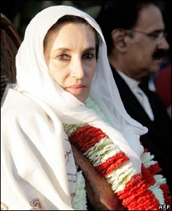 Benazir Bhutto at the rally in Rawalpindi on 27 December 2007