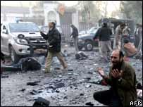 Escena tras el atentado en Rawalpindi