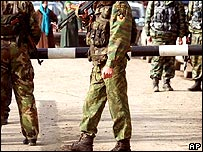 Russian troops at a checkpoint in Chechnya (file)