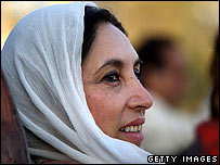 Benazir Bhutto, photographed at the rally shortly before her assassination on 27 December 2007