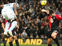 Darius Vassell scores Manchester City's opener against Blackburn