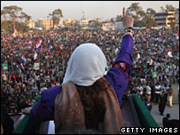 Benazir Bhutto at her last election meeting in Rawalpindi