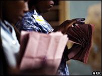 Kenyan electoral officials count ballots