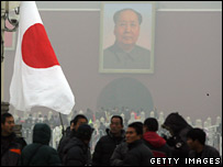 Japanese national flags in Tiananmen Square, Beijing (27/12/2007)