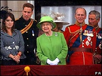 Princess Eugenie, Prince William, the Queen, Prince Philip and Prince Charles