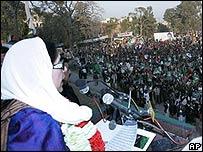 Benazir Bhutto, poco antes de su muerte
