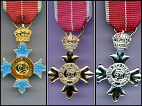 The CBE, OBE and MBE medals