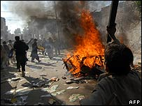 Rioters in Peshawar on 28 December