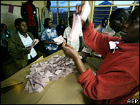 Vote counting at a Nairobi polling station, 27 December 2007