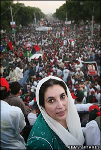 Benazir Bhutto is welcomed by the crowds ion her return in October 2007