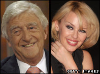 Michael Parkinson and Kylie Minogue