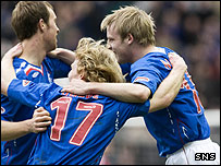 Rangers celebrate another valubale three points on the road