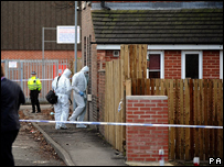 Forensic teams at the house where Archie-Lee was killed