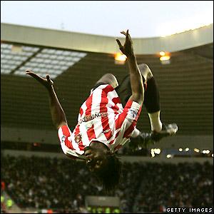 Jones celebrates his goal