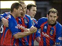Inverness celebrate Marius Niculae's opening goal