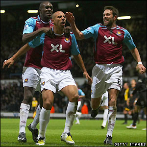 West Ham celebrate their equaliser