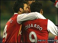 Cesc Fabregas congratulates Arsenal scorer Eduardo da Silva
