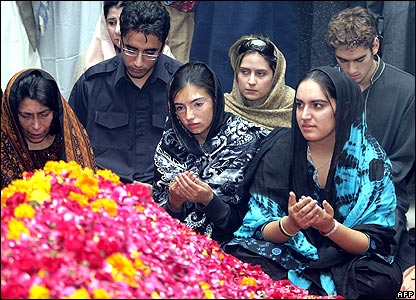 Left to right - Mrs Bhutto's sister Sanam, son Bilawal, daughter Asifa, unknown relative, daughter Bakhtawar, unknown relative
