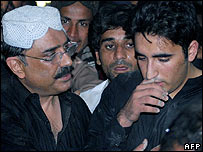 Asif Ali Zardari and Bilawal Bhutto at the funeral of Benazir Bhutto, 28/12/07
