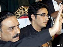 Asif Ali Zardari (left) and Bilawal Bhutto Zardari - the husband and son of slain leader Benazir Bhutto