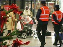 Security patrol in Brussels shopping centre