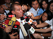 Ramon Rodriguez Chacin speaks to reporters in Caracas (30 December 2007)
