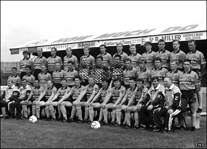 Phil O'Donnell (back row, fourth from right) in the 1992/93 Motherwell squad